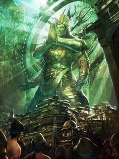 Artist: Jae Hyeong Song aka - Title: Unknown - Card: Rudra, Deity of Ruination Fantasy Landscape, Fantasy Art, Pictures To Paint, Cool Pictures, Pagan Gods, Writing Pictures, Sword And Sorcery, Fantasy Setting, Buddhist Art
