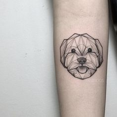 Dog tattoo by Fin T. FinT malaysia geometric animal origami pointillism dotwork dog