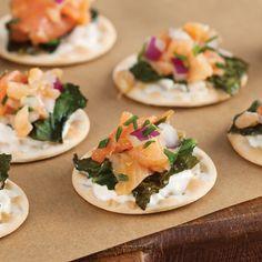 Smoked Salmon on Crackers with Crispy Swiss Chard - Louisiana Cookin