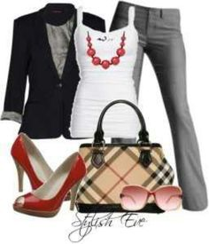 Nice bag and pumps. I also like the shirt and matching necklace.