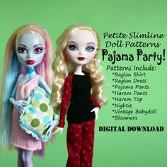 Pajama Party Mega Pack! Clothes pattern for Petite Slimline Fashion Dolls: Ever After High, Monster High, Dal, Obitsu & more