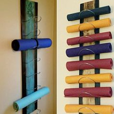 The 8 tier Gradient Flow yoga mat holder is the next step in organizing your yoga and meditation supplies up and out of the way in your Studio space. Great for the home studio as well to display their mats as well. ***I have switched to using a Natural and ECO friendly polyurethane