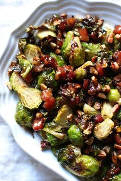 Roasted brussels sprouts with maple glazed pancetta & pecans for Thanksgiving! An easy side dish recipe - gluten free and dairy free. | From Jessica's Kitchen
