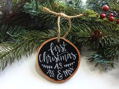 Our First Christmas Ornament, Personalized Ornament, Mr. and Mrs. Ornament, Hand Painted, Just Married Ornament, Christmas Ornament, Wedding