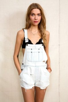 Urban Renewal Washed-Out Denim Overall Short  urbanoutfitters Urban  Renewal 4b9dc7f41