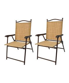 Look what I found on #zulily! Sling Back Outdoor Folding Chair - Set of Two by Greendale Home Fashions #zulilyfinds