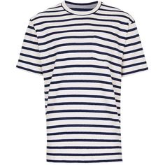 TOPMAN Ltd Blue and White Stripe Oversized Towelling T-Shirt ($39) ❤ liked on Polyvore featuring men's fashion, men's clothing, men's shirts, men's t-shirts, tops, multi, mens blue and white striped t shirt, mens cotton t shirts, mens cotton shirts and mens crew neck t shirts