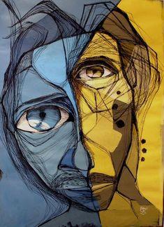Tiger Artwork, Art Visage, Gcse Art Sketchbook, Abstract Face Art, Maquillage Halloween, Portrait Art, Portraits, Art For Art Sake, Oeuvre D'art