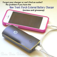 Forgot your charger or can't find an outlet? No problem with the New Trent iTorch External Battery Charger {review and giveaway}, Winner will be selected April 3, 2013 | Brie Brie Blooms #giveaway #electronics #batterycharger