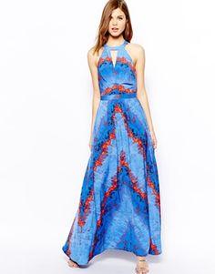 Image 1 ofWarehouse Lava Print Maxi Dress