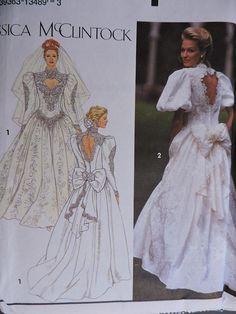 Wedding Dress Sewing Pattern, Deep V Cut Out, Bridal, Simplicity Size Wedding Dress Sewing Patterns, Vintage Sewing Patterns, Costume Patterns, Halloween Patterns, Clothes Patterns, Wedding Dress Sketches, Gown Pattern, Bridal Gowns, Wedding Dresses