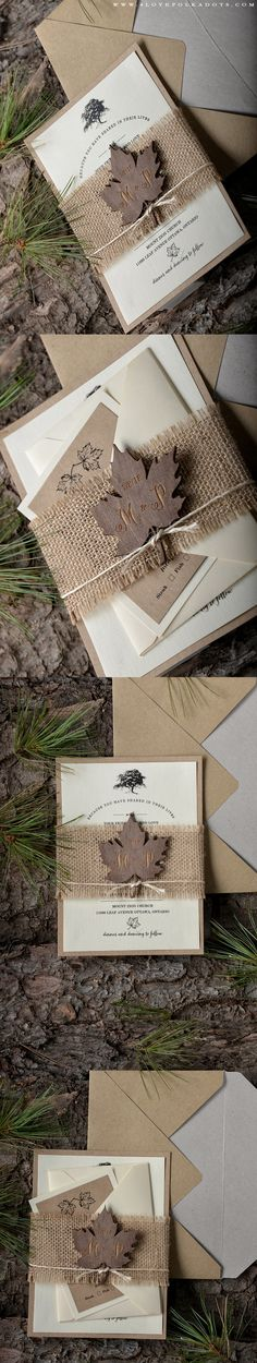 Wedding Invitation with Wooden Leaf Tag #realwood #weddingideas #woodland