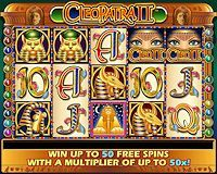 IGT's Cleopatra II Slot Machine Game Review at:  http://www.slotreviewonline.com/2012/05/igts-cleopatra-ii-slot-machine-game-review/#.UZyvQdItQl8