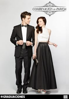 ¡Vamos en Pareja! No te compliques y haz un match perfecto con tu novio. El Blanco y Negro los harán ver elegantes y combinados. #Graduaciones