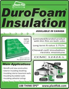 If you are remodeling your home, or building a new one, DuroFoam® Insulation… Insulating Garage Walls, Waterproofing Basement Walls, Basement Ceiling Insulation, Garage Insulation, Rigid Insulation, Basement Flooring, Wall Exterior, Cathedral Ceilings