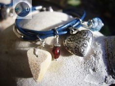 Blue Lagoon – Blue  jeans leather bracelet - Crystal, fancy heart, garnet and ceramic - $54.95 - See this unique piece on seaucollection.com