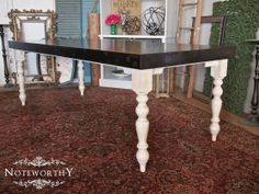 Large Farm House Dining Table, painted table, painted dining table, Farmhouse table, turned leg, stained top, custom made table