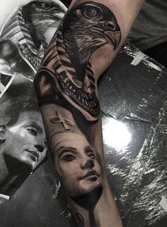 Neferneferuaten Nefertiti Tattoo Chest Tattoo, Arm Tattoo, Sleeve Tattoos, Black And Grey Tattoos, Nefertiti Tattoo, Egyptian Tattoo Sleeve, Tattoos For Women, Tattoo Artists, Body Art