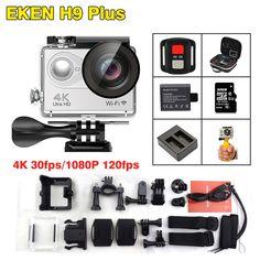 155.99$  Watch now - http://aliail.worldwells.pw/go.php?t=32791211766 - 2017 Arrival!Original Eken  H9 plus 4K 30fps Action Camera 30m waterproof 2.0' Screen 1080p 120fp sport Camera go extreme pro sj