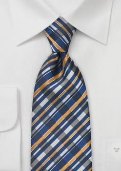 Graphic Tie in Tan and Navy
