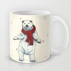 """""""The polar bears wish you a Merry Christmas"""" Mug by Savousepate - $15.00 #mug #xmas #polarbear #dancing"""