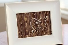 A piece of wood grain fabric and white thread. You can sew anyhting you want into it and then just frame it.