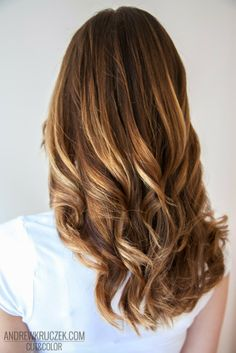 Honey highlights on brown base hair color at Kruczek Hair Concept
