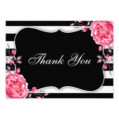 Black And White Stripe Wedding Or Bridal Shower Thank You Card