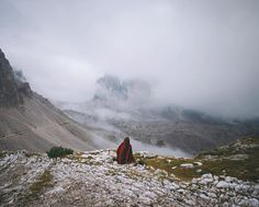 Patiently waiting for the sunrise that never came, way up at Drei Zinnen Hütte in the Dolomites.  - @alexstrohl