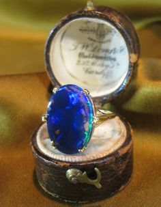 18K BLACK OPAL SOLID VINTAGE RING ROSE GOLD BOX RARE VICTORIAN HUGE 7.50 CARATS