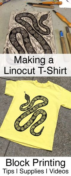 How to make block print t-shirts using linocuts. Including diy techniques, useful supplies and videos for lino printing on fabric.