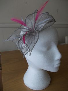 Silver Grey Gray Petal Fascinator with Hot Pink Feathers 456357890c1