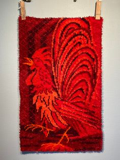 Excited to share this item from my shop: Danish Modern Rug Vintage Wool Rya Rug Rooster Scandinavian Rug . Shades Of Red, Color Shades, Danish Modern, Modern Rugs, Rya Rug, Mid Century Rug, Red Rooster, Retro Fabric, Animal Design