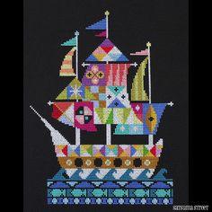 Voyage Modern Pirate Ship cross stitch pattern by SatsumaStreet