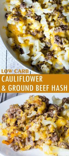 Cauliflower and Ground Beef Hash - Low Carb Recipe - Glue Sticks and Gumdrops - Low Carb Cаulіflоwеr аnd Grоund Beef Hаѕh Healthy Dinner Recipes For Weight Loss, No Carb Dinner Recipes, Weight Loss Drinks, Dessert Recipes, Keto Dinner, Lunch Recipes, Healthy Food, Low Carb Dinner Ideas, Low Cholesterol Recipes Dinner