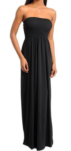This classic black minimalist smocked maxi dress is stretchy and soft. Sexy strapless long slimming maxi dress is instyle. It can be dressed many different styles, boho, elegant or casual.