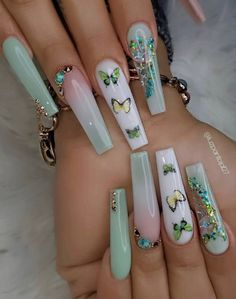 Bling Acrylic Nails, Simple Acrylic Nails, Square Acrylic Nails, Aycrlic Nails, Best Acrylic Nails, Summer Acrylic Nails, Coffin Nails, Nail Swag, Cute Acrylic Nail Designs