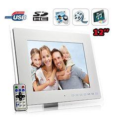 Cadre photo numérique 12 pouces et lecteur multimedia avec télécommande - Blanc - carte SD jusqu'à 8 Go