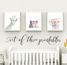 Safari Nursery, Giraffe, Hippo, Elephant, Glasses, Safari Nursery Decor, Safari Animals, Set of Three PRINTABLES, 8x10, Digital Download by off2marketPrintables on Etsy