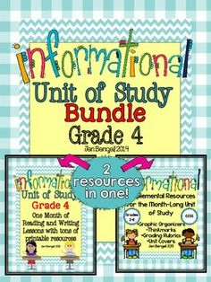 This bundle includes everything you need to teach and assess for a month long unit of study on informational text in the reading and writing workshops! There are 40 CCSS detailed lessons, chart examples, printable graphic organizers and thinkmarks for every reading lessons, writing rubrics, and much more!