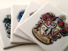 Hogwarts House coasters. You will be using them with envy! ENVY!