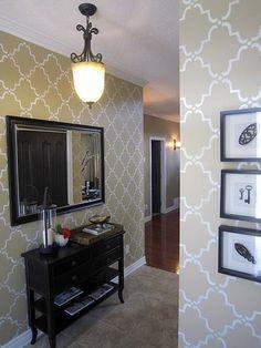 Classic Moorish Trellis Stencil in a creamy white over golden beige walls by Lisa Goulet Design.