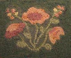 Flowers in Winter 8 x 10 Rug Hooking Pattern PDF by lavenderwool
