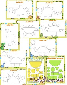 Build Cut-Out Dinosaurs Using Shapes - Kids Crafts ⋆ MixedUpMissus Dinosaurs Preschool, Activities For 2 Year Olds, Dinosaur Activities, Educational Activities For Kids, Preschool Learning Activities, Preschool Themes, Preschool Activities, Kids Learning, Dinosaur Crafts