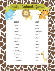 baby shower games animal mother to baby match up game - Baby Shower Decoration Ideas