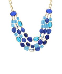 Another great find on #zulily! Blue & Gold Bead Layered Necklace by Sparkling Sage #zulilyfinds