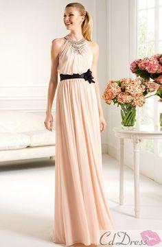 Elegant Column Scoop Chiffon and Beading Bridesmaid Dress