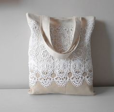 Canvas Tote Bag Lace Handbag Casual Shoulder Bag by MyLacyBoutique