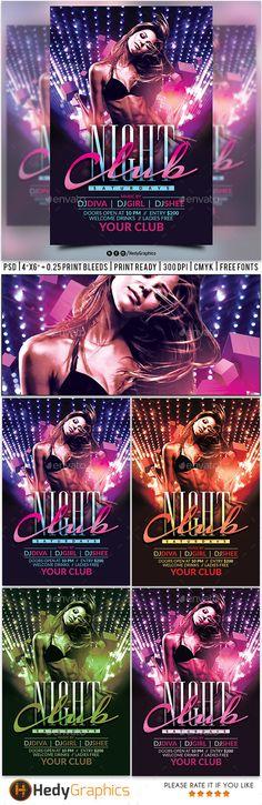 Night Club Flyer — Photoshop PSD #psd #black • Download ➝ https://graphicriver.net/item/night-club-flyer/19271495?ref=pxcr