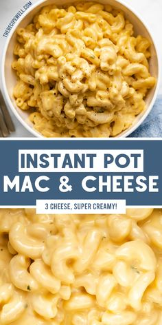 The best Instant Pot Mac and Cheese! Made with three types of cheese and simple seasonings, it's a super creamy, crowd-pleasing one-pot dish. Perfect for a holiday side or when you want something a little fancier than the boxed stuff! Side Dishes Easy, Vegetable Side Dishes, Side Dish Recipes, Main Dishes, Dinner Recipes, Instant Pot Mac And Cheese Recipe, Instant Pot Pressure Cooker, Pressure Cooking, Best Pasta Dishes